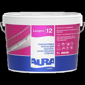 Краска Aura 9л Luxpro 12 Полуматовая для Высококачественной Отделки