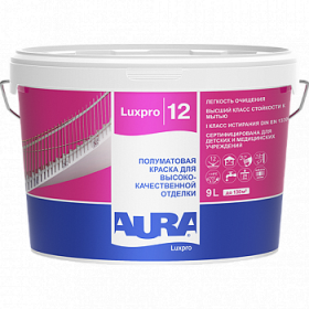 Краска Aura 0.9л Luxpro 12 Полуматовая для Высококачественной Отделки
