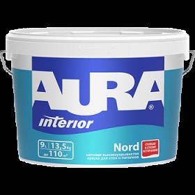 Высокоукрывистая Краска Aura 9л Interior Nord Матовая для Стен и Потолков
