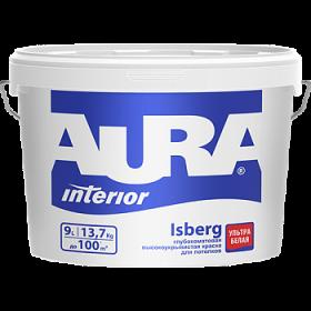 Высокоукрывистая Краска Aura 9л Interior Isberg Глубокоматовая Ультрабелая для Потолков