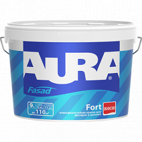 Атмосферостойкая Краска Aura 9л Fasad Fort Матовая для Фасадов и Цоколей