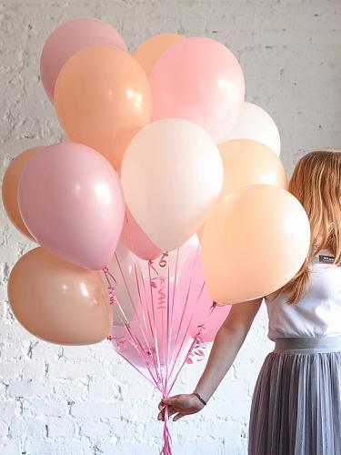 Букет из гелиевых шаров персик-белый-розовый