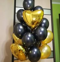 Облако из гелиевых шаров Золотое сердце