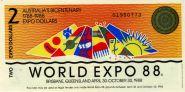 АВСТРАЛИЯ - 2 доллара, 1988 WORLD EXPO 88. UNC.ПРЕСС Мультилот