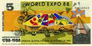 АВСТРАЛИЯ - 5 долларов, 1988 WORLD EXPO 88. UNC.ПРЕСС Мультилот