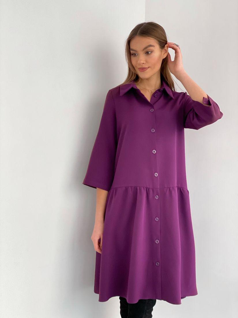 """3523 Платье-рубашка в цвете """"вино"""""""