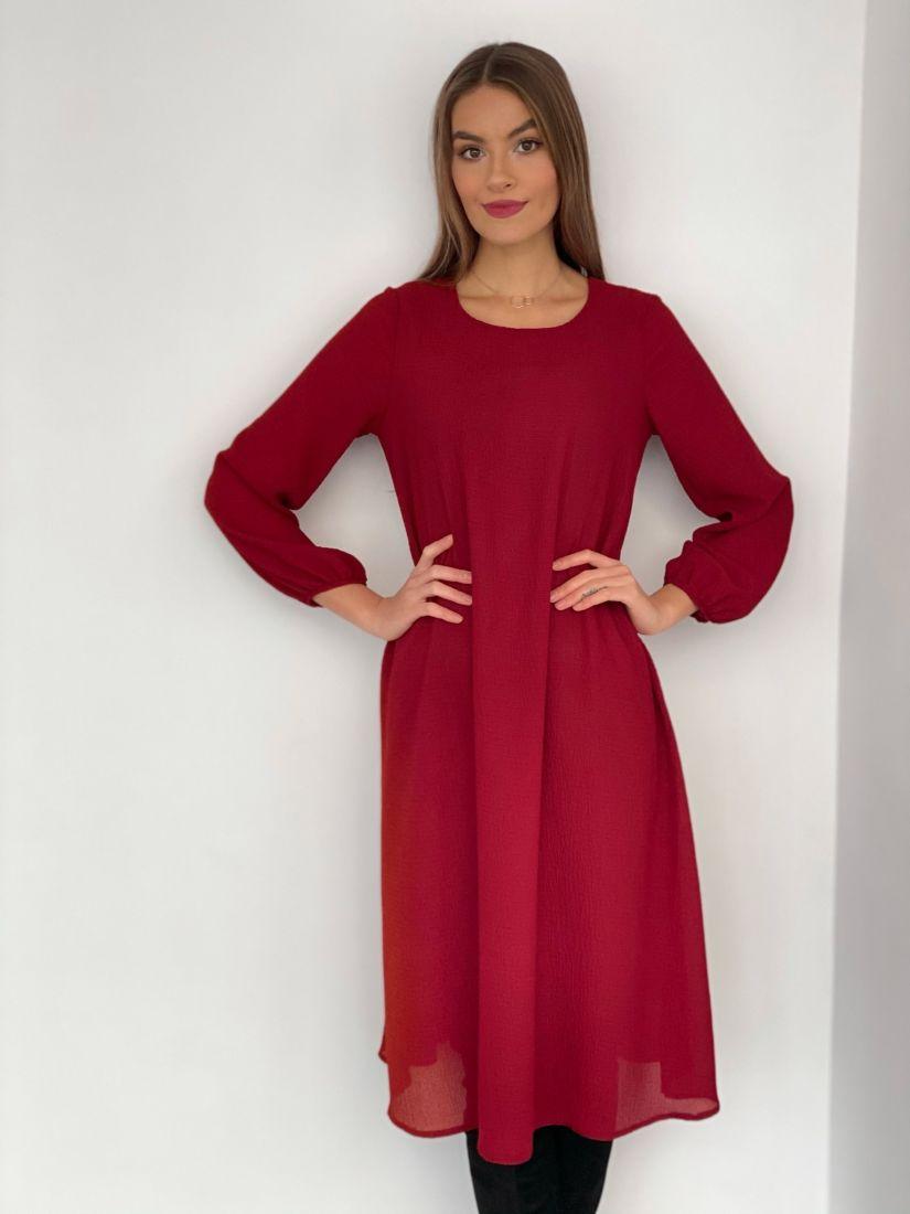 s3524 Платье-трапеция из жатого микрошифона на подкладе бордовое