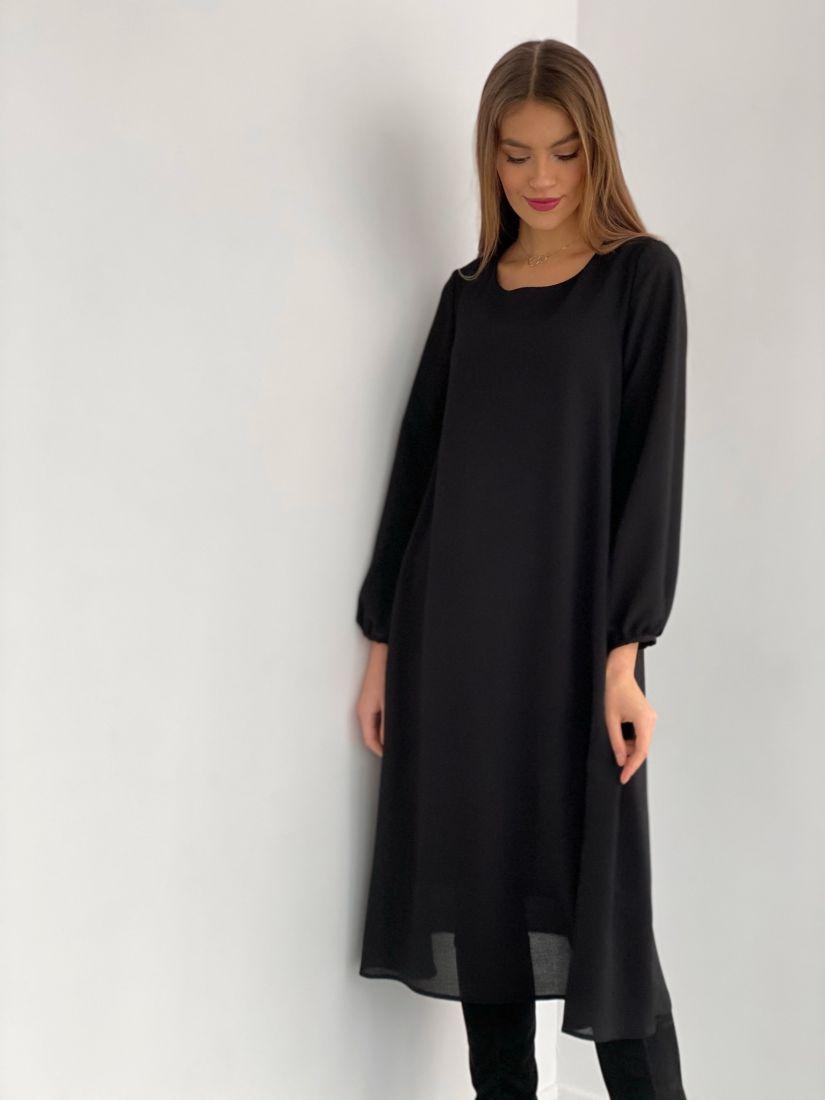 3528 Платье-трапеция из жатого микрошифона на подкладе чёрное