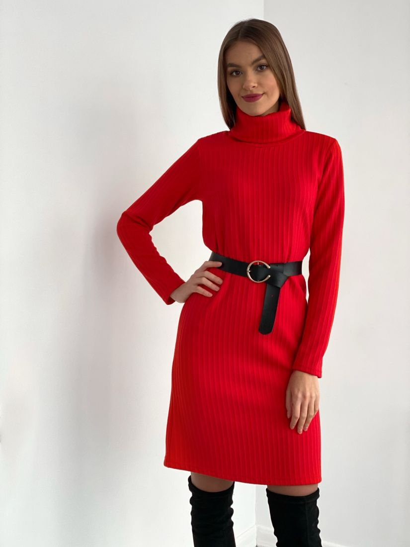 s3529 Платье-свитер с жаккардовым узором красное