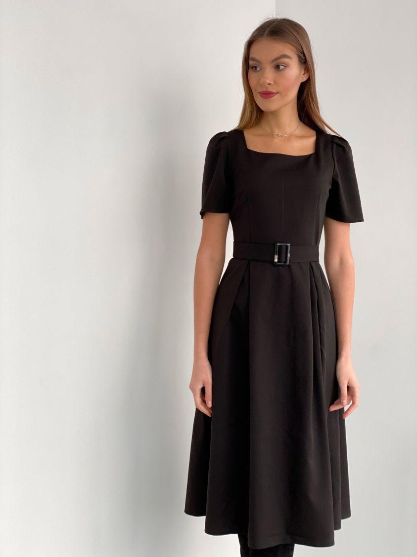 s3530 Платье в стиле 60х с вырезом каре и объёмными рукавами чёрное