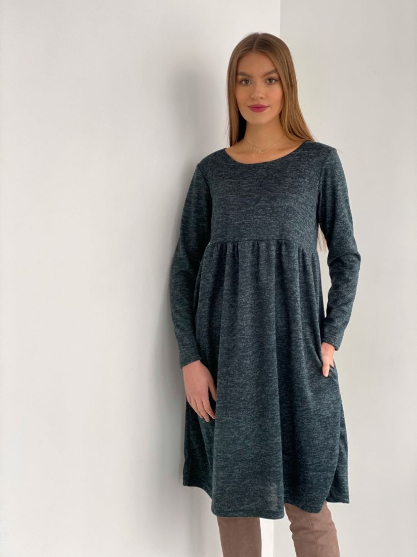s3531 Платье графитовое в стиле babydoll