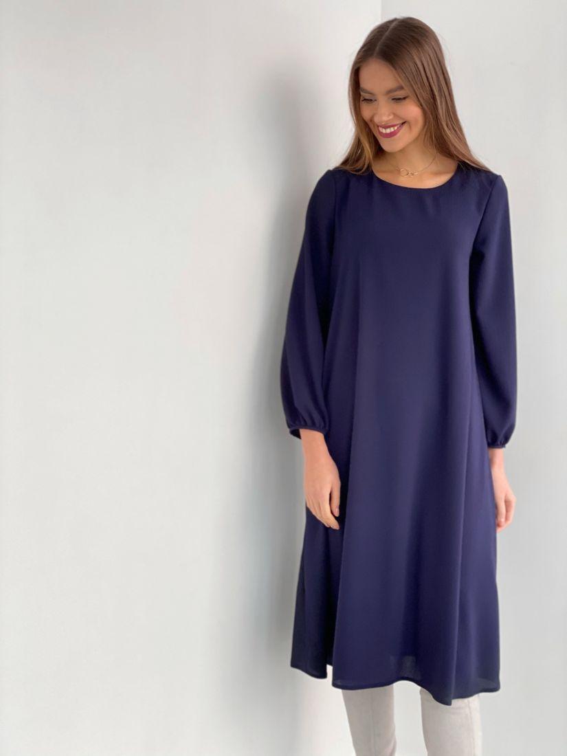 s3534 Платье-трапеция из жатого микрошифона на подкладе синее