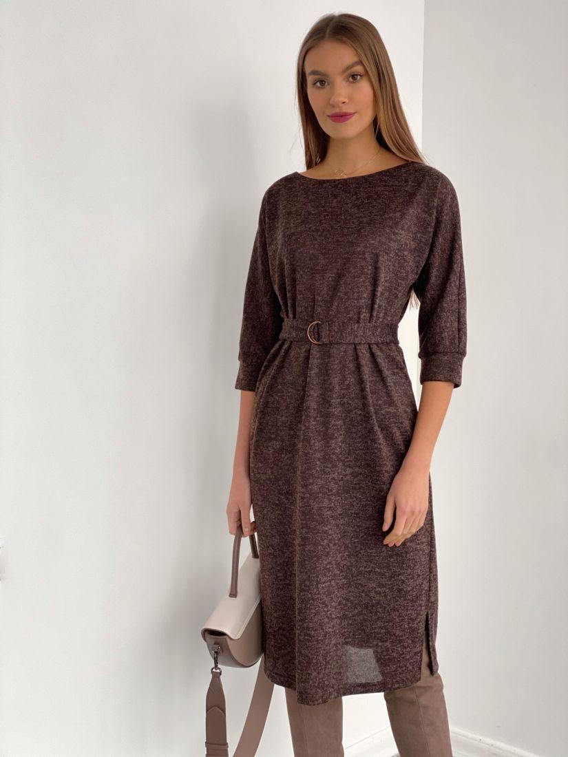 """s3535 Платье с рукавом """"летучая мышь"""" в цвете """"шоколад"""""""