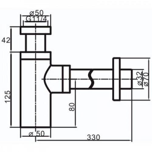 Vaserzberg SUS-6 Хромированный сифон для раковины