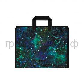 Папка А4+ ErichKrause Emerald Stardust на молнии с ручками 52848