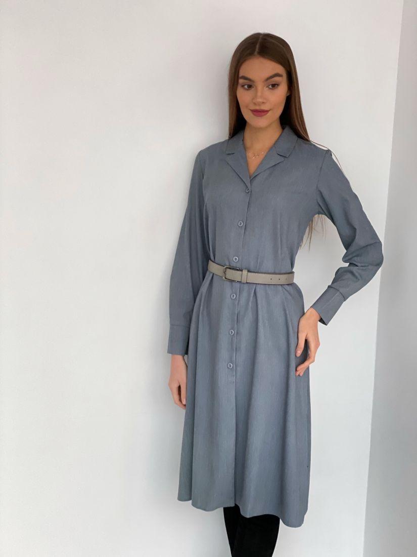 s2735 Платье на пуговичках с английским воротником серое