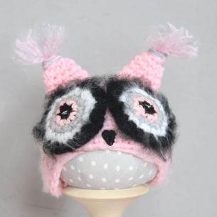 Вязаная шапочка Сова розовая Розовые глазки