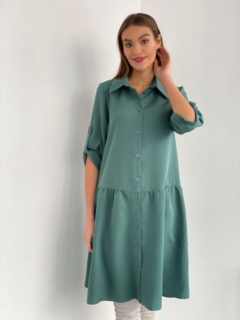 s3551 Платье-рубашка с заниженной талией зелёное
