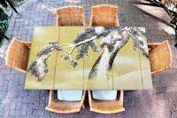 Наклейка на стол - Снег на соснах | Купить фотопечать на стол в магазине Интерьерные наклейки