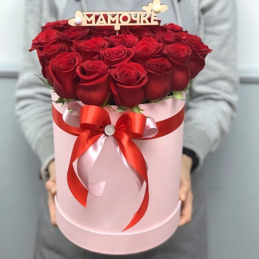 25 роз в шляпной коробке (топпер на выбор)