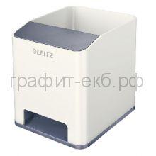 Подставка для ручек и смартфона Leitz WOW с усилением звука серый/белый 5363-10-01