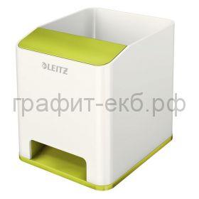 Подставка для ручек и смартфона Leitz WOW с усилением звука зеленый/белый 5363-10-54