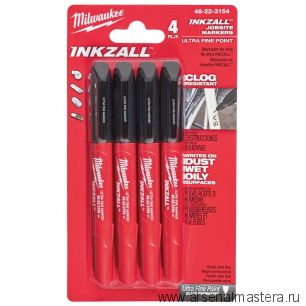 Маркер для стройплощадки Milwaukee INKZALL ультра-тонкий черный 4 шт 48223154