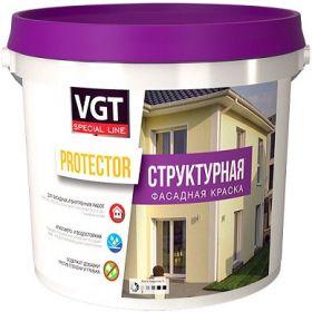 Краска Фасадная Структурная VGT Protector 7кг Зерно 0.5-1мм для Внутренних и Наружных Работ / ВГТ Протектор