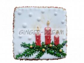 """Новогодние пряники """"Рождественская свеча"""" Подарки на Новый Год"""