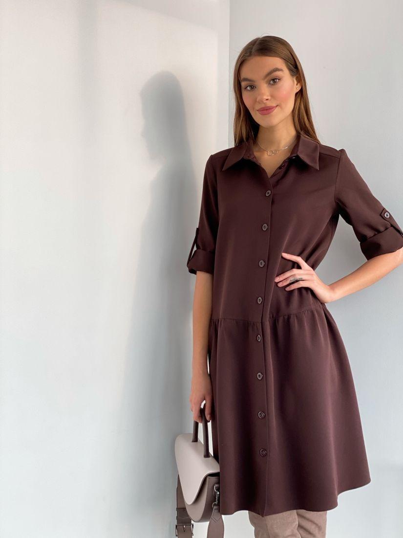 "s3568 Платье-рубашка в цвете ""шоколад"""