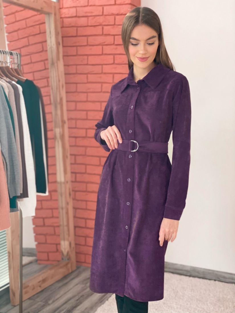 """s3573 Платье-рубашка из вельвета в цвете """"вино"""""""