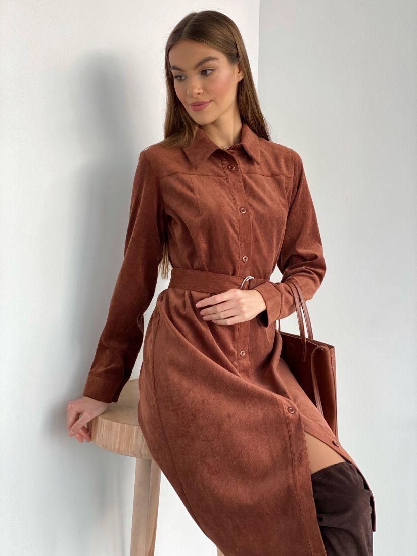 s3574 Платье-рубашка из вельвета в тёплом коричневом