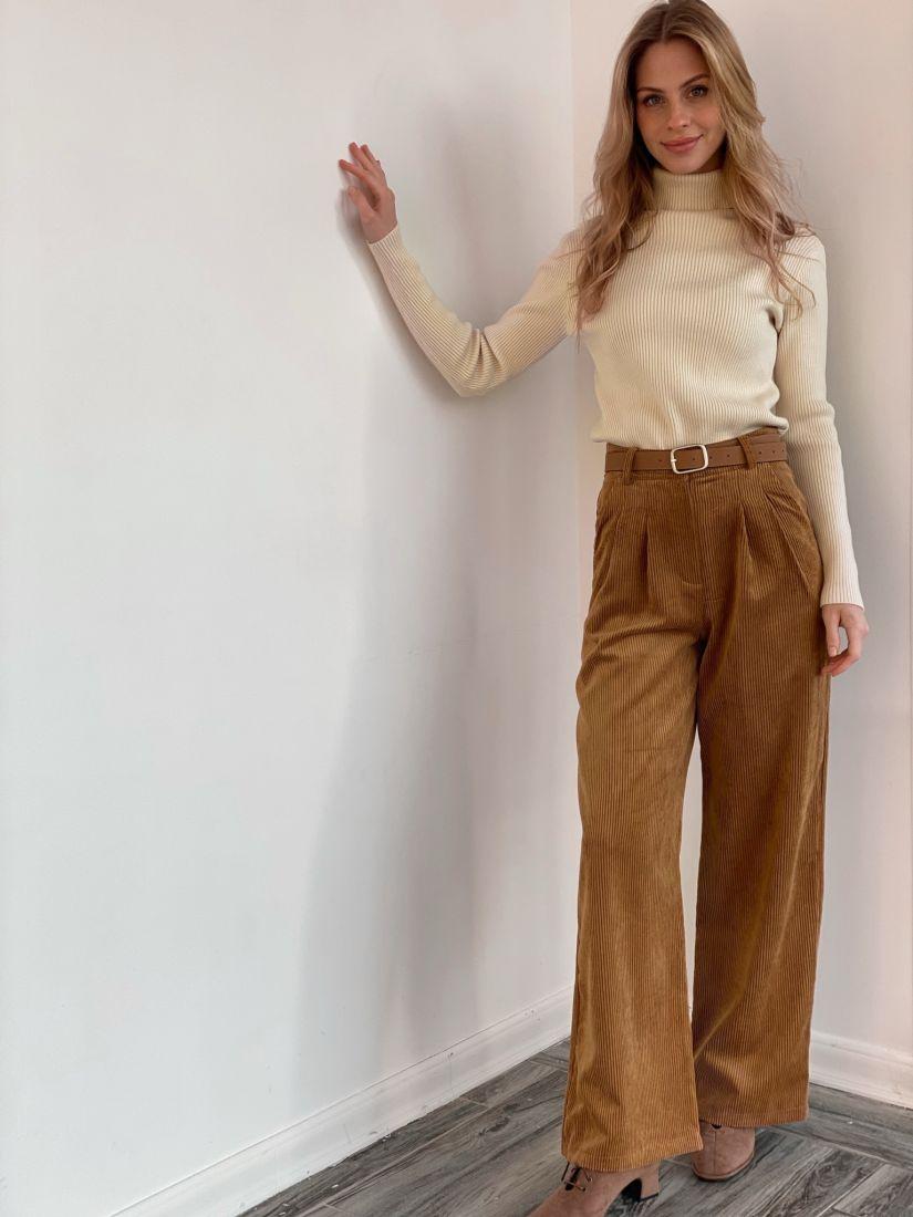 s3582 Широкие брюки из вельвета в цвете camel