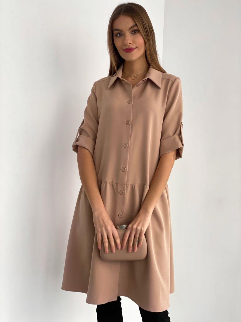 s3586 Платье-рубашка в нейтральном бежевом