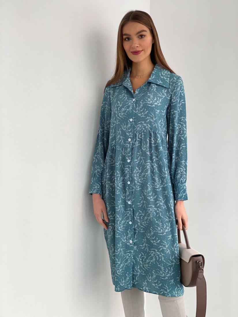 2203 Платье-рубашка свободное с асимметричной линией талии голубое