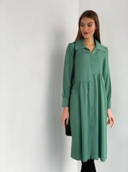 s2198 Платье-рубашка в цвете васаби свободное с асимметричной линией талии