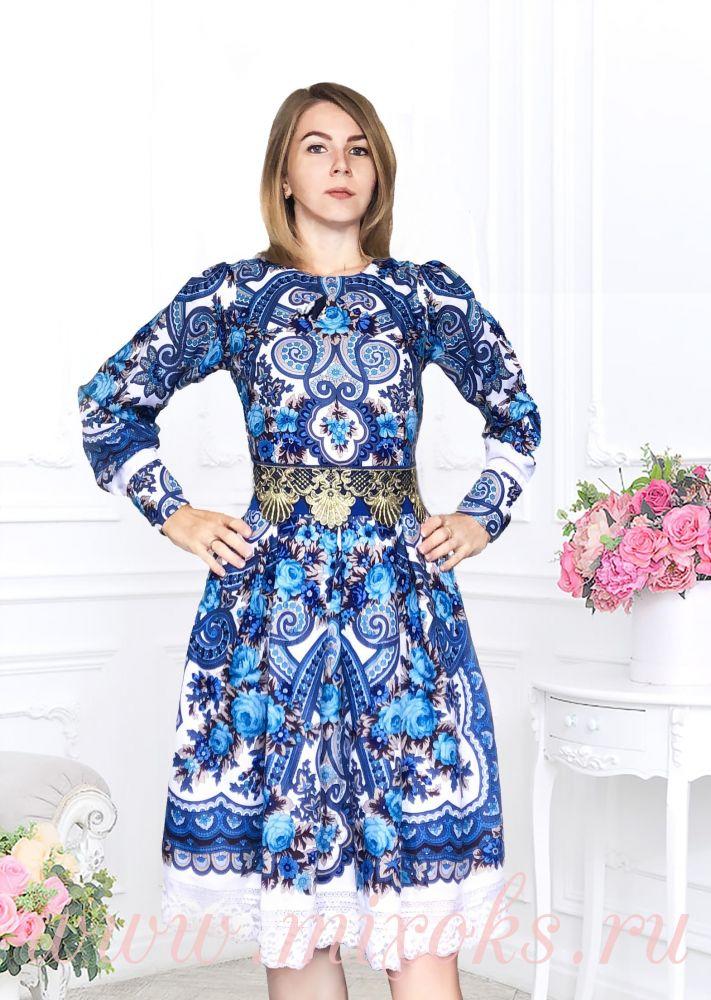 Платье из платка Гжель