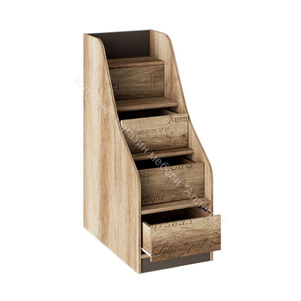 Лестница приставная с ящиками «Пилигрим» (Дуб Каньон светлый, Фон серый)