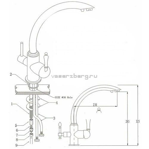 Kaiser Vincent 31244-2 Silver Смеситель для кухни с выходом под питьевой фильтр