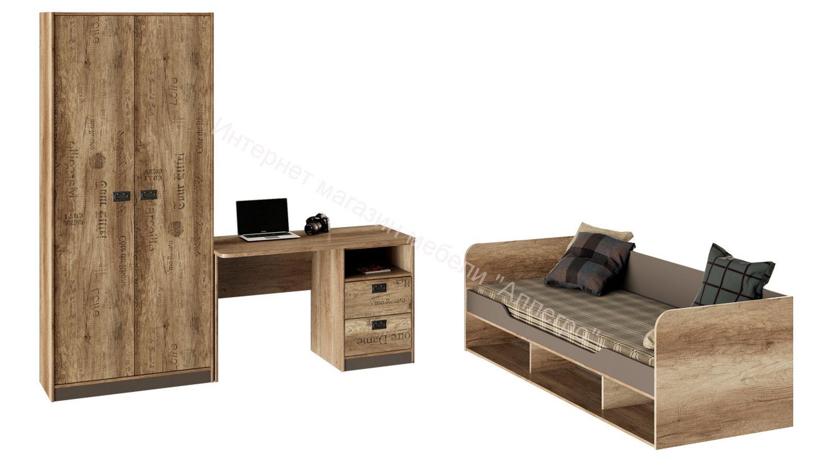 Набор детской мебели «Пилигрим» стандартный (Дуб Каньон светлый, Фон серый)