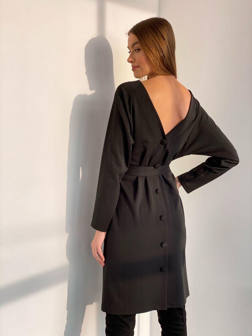 3589 Платье с декольте по спинке чёрное