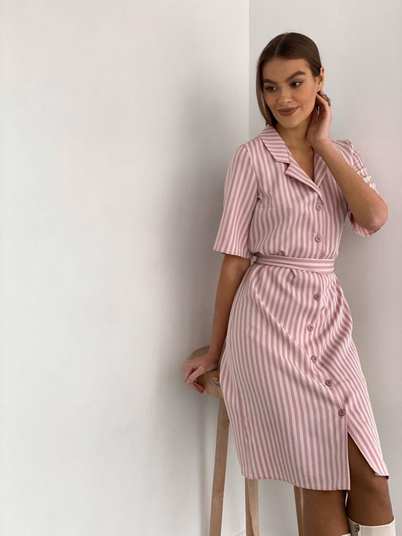 s2012 Платье-рубашка с английским воротником в полоску-ёлочку холодного розового цвета