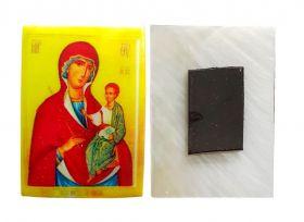 Минская икона Божией Матери. Магнитик на холодильник на перламутровой индийской ракушке