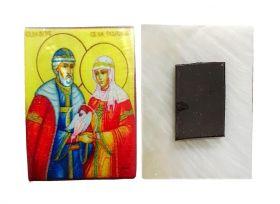 Икона Петра и Февронии. Магнитик на холодильник на перламутровой индийской ракушке