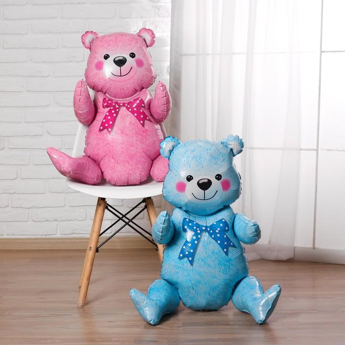 Мишка фольгированный голубой или розовый с воздухом