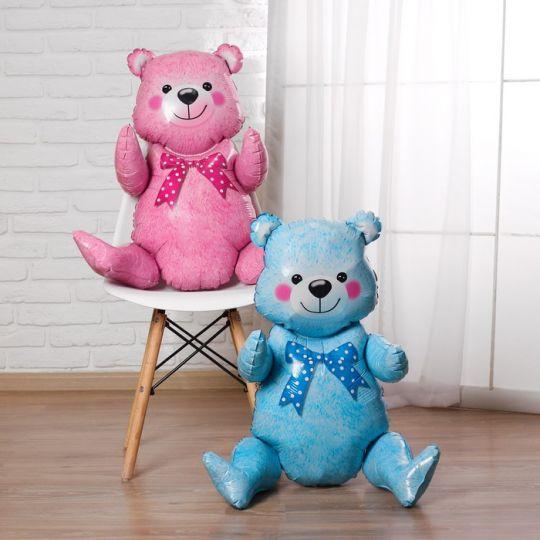 Мишка фольгированный голубой или розовый