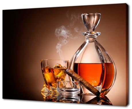 Картина на холсте Виски и сигара