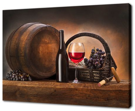 Картина на холсте Бочка, вино и виноград