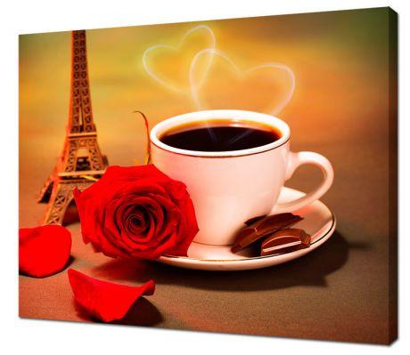 Картина на холсте Эйфелева башня и кофе
