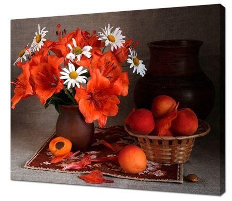 Картина на холсте Букет и персики